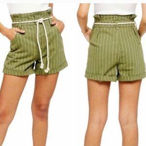 Topshop Green Stripe Rope Belt Paperbag Shorts